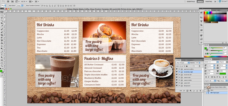 coffee shop menu board psd template eclipse digital media. Black Bedroom Furniture Sets. Home Design Ideas