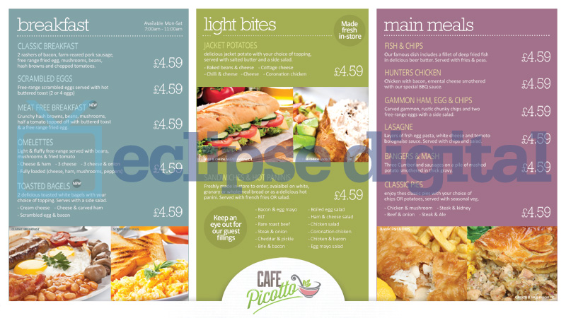 Cafe Canteen Style Menu Board Psd Template Eclipse Digital Media