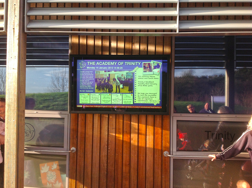 Eclipse Digital Media The Academy of Trinity School Digital Signage Installation Case Study Weather Proof Exterior Aqualite Screen 2