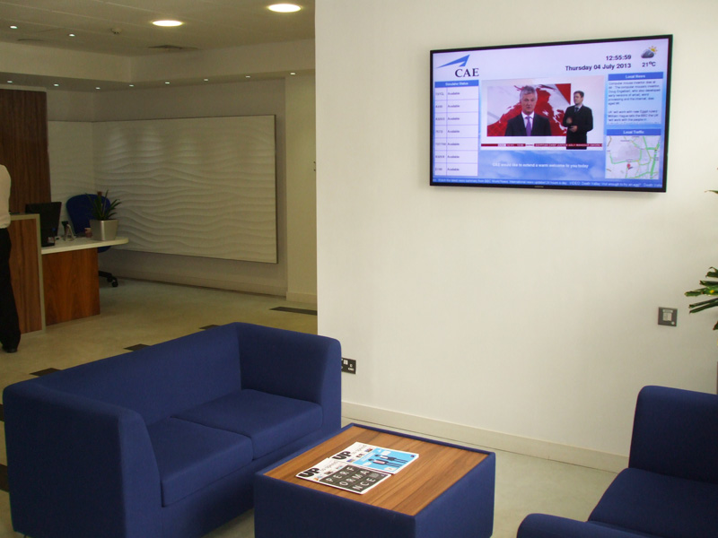 Eclipse Digital Media Digital Signage Installation for CAE Crawley - Reception