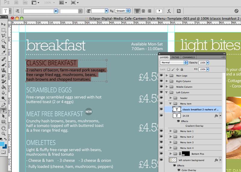 Cafe canteen style menu board psd template eclipse digital media for Photoshop menu template