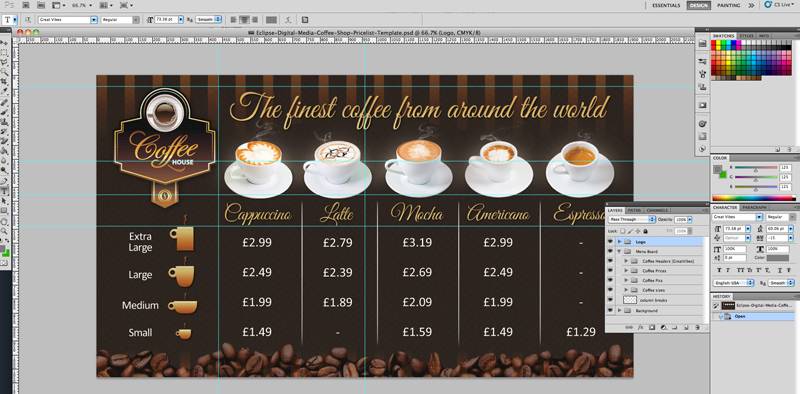Coffee shop version 2 menu board psd template eclipse for Coffee price list template