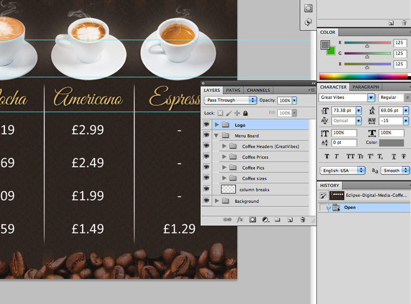 coffee shop version 2 menu board psd template eclipse digital media. Black Bedroom Furniture Sets. Home Design Ideas