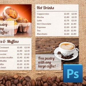 Eclipse Digital Media Digital Signage PSD Digital Menu Board Template Coffee Shop Design Version 1