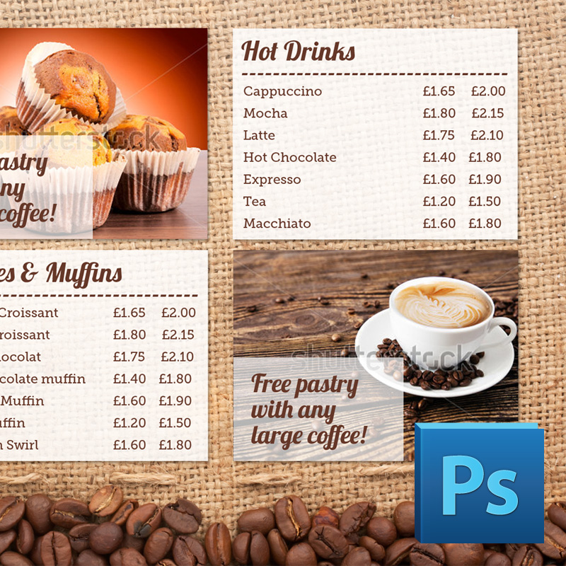 Coffee Shop Menu Board PSD Template | Eclipse Digital Media