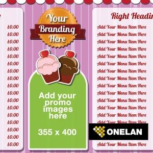 Eclipse Digital Media Digital Signage Dessert Lounge / Cake Shop ONELAN Digital Menu Board Layout Package