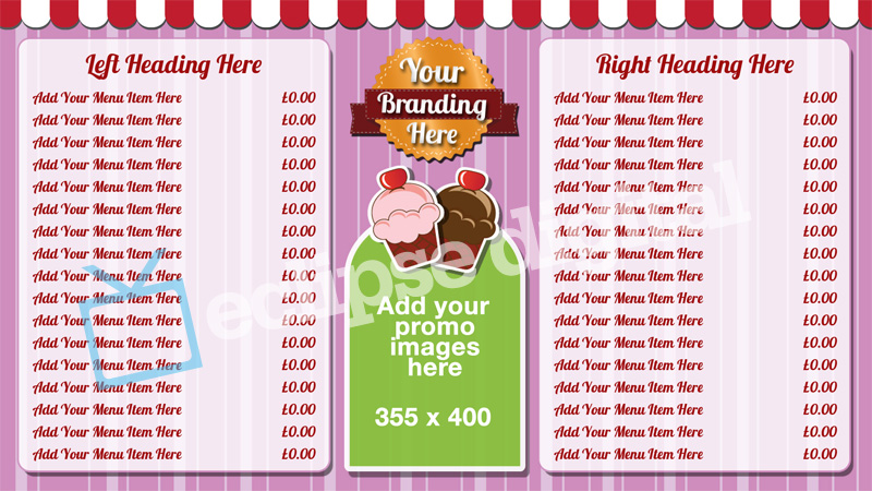 Dessert Lounge Cake Shop Menu Board Onelan Digital Signage