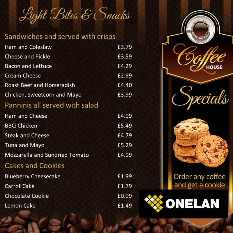 Coffee Shop Menu Board Onelan Digital Signage Layout Package