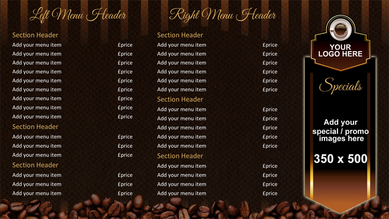 Coffee shop menu board onelan digital signage layout for Coffee shop design software