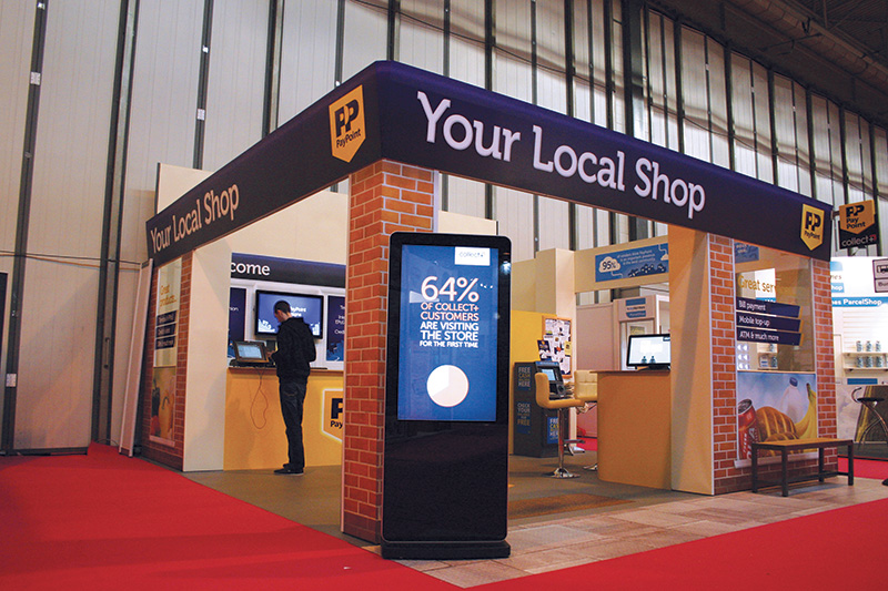 Eclipse Digital Media Digital Signage - PayPoint - Exhibition Difgital Signage Case Study Full Stand