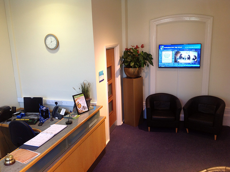 Eclipse Digital Media - Digital Signage Solutions - Nottingham Girls' High School Reception 1