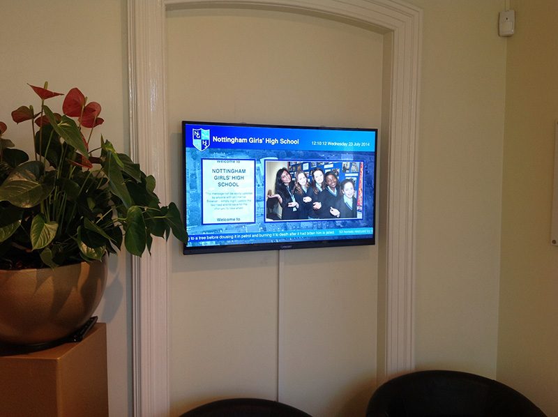 Eclipse Digital Media - Digital Signage Solutions - Nottingham Girls' High School Reception