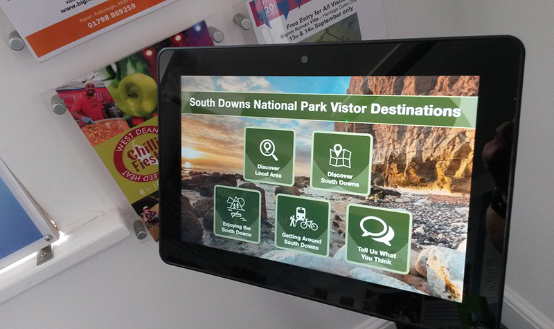 Eclipse Digital Media - Digital Signage Solutions - South Downs National Park Exhibition Digital Signage Case Study using embed signage - Tablet