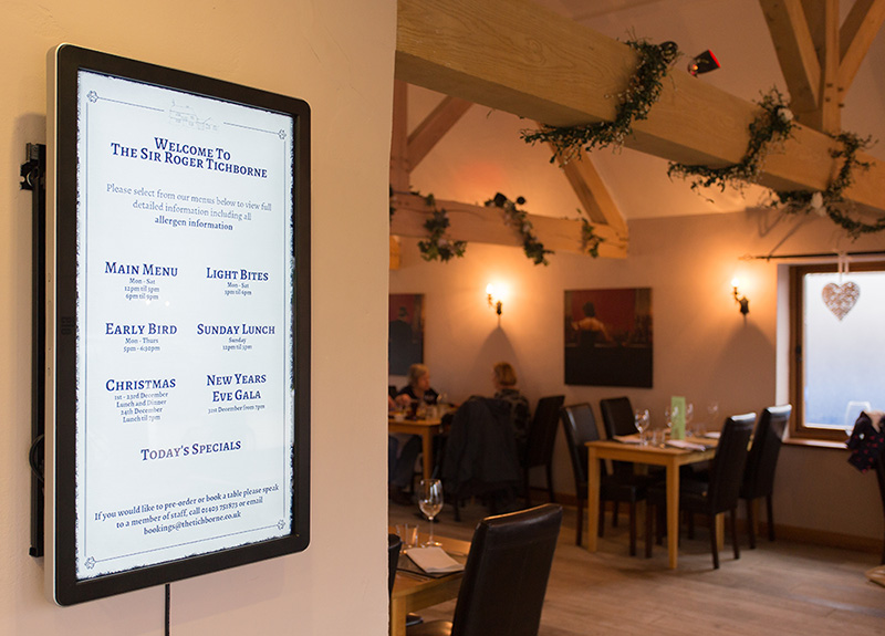 Eclipse Digital Media - Digital Signage Solutions - The Sir Roger Tichborne - Allergy Information Board