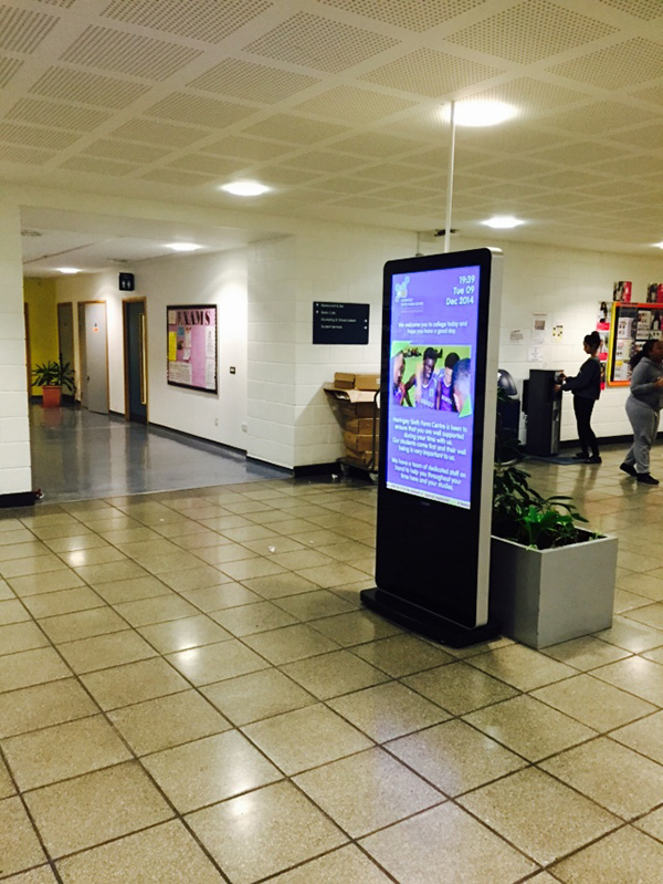 Eclipse Digital Media - Digital Signage Solutions - Haringey Sixth Form Centre - Entrance Totem 1