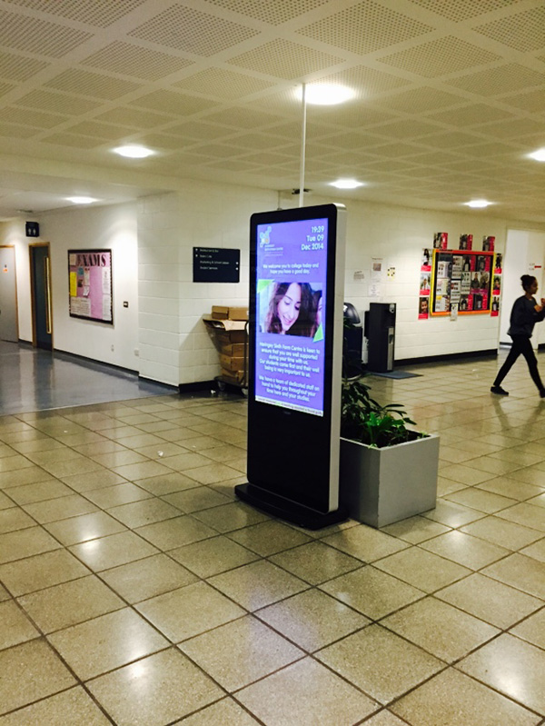 Eclipse Digital Media - Digital Signage Solutions - Haringey Sixth Form Centre - Entrance Totem