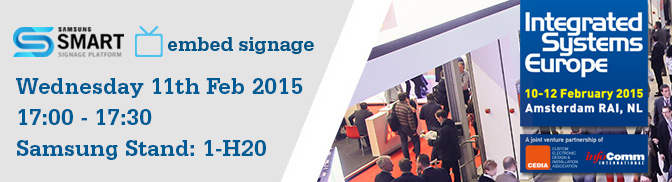 Eclipse Digital Media to Present Samsung Smart Signage Platform (SSSP) and embedsignage.com at ISE 2015