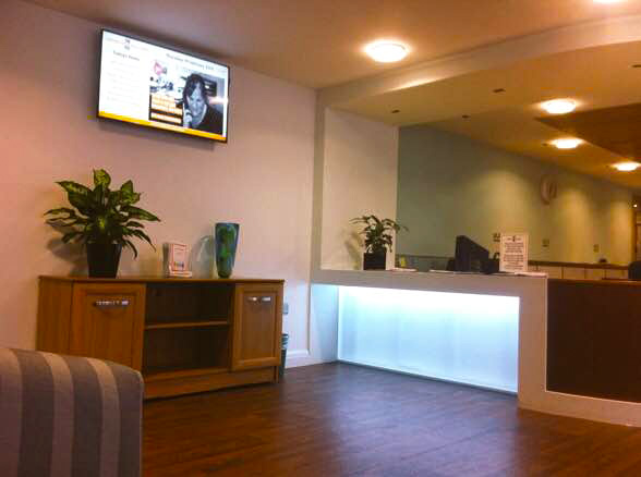 Eclipse Digital Media - Digital Signage Solutions - THE FED - Heathlands Village Care Home - Reception Digital Signage