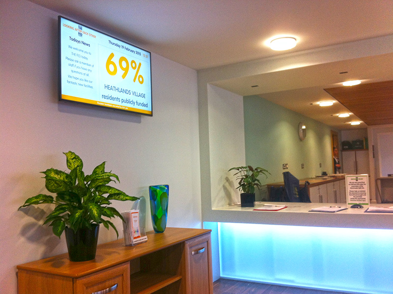 Eclipse Digital Media - Digital Signage Solutions - THE FED - Heathlands Village Care Home - Reception Digital Signage 1