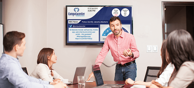 eclipse digital media digital signage software corporate computacenter meeting room example