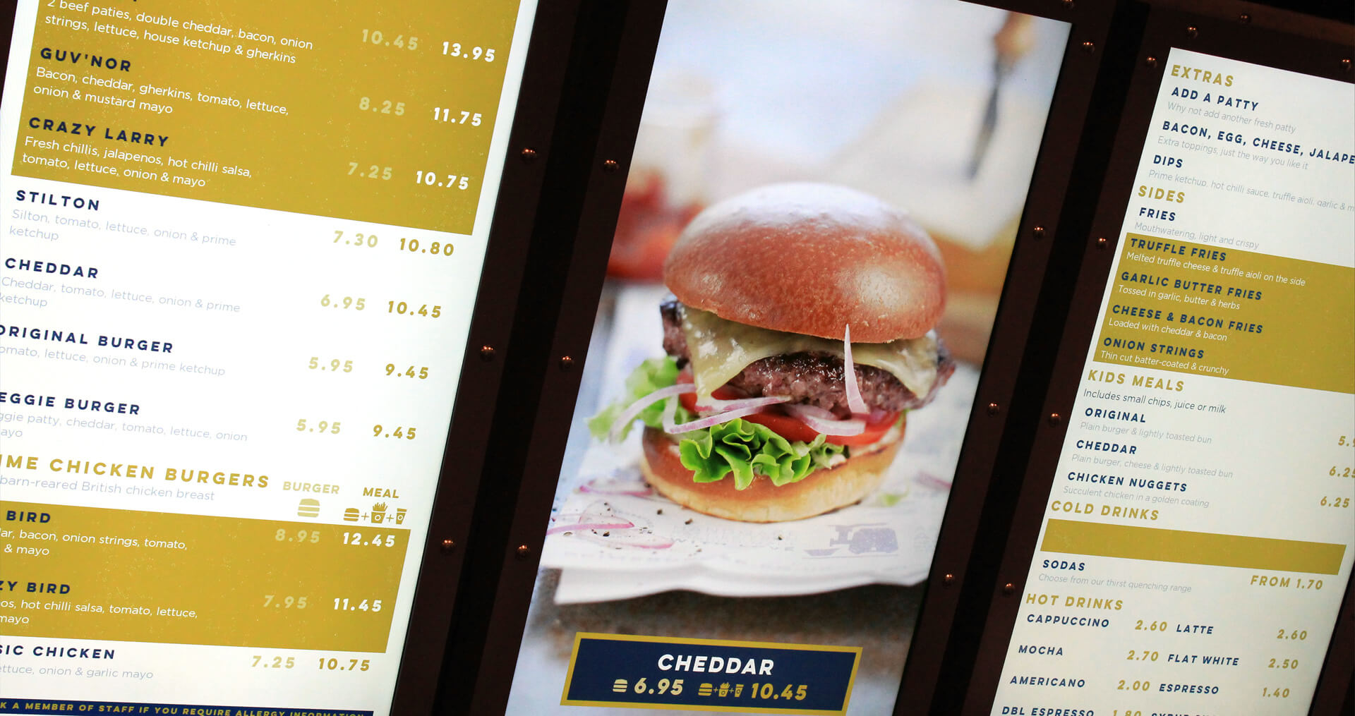 eclipse digital media digital signage solutions restaurant prime burger stpancras menuboards
