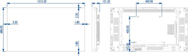 Eclipse Digital Media - Digital Signage Shop - Philips 55BDL5588XC Dimensions