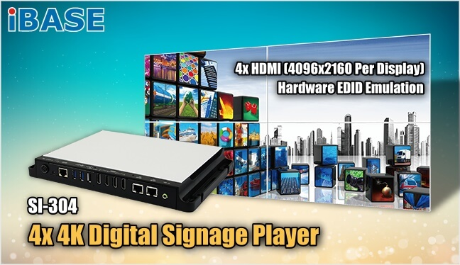 Eclipse Digital Media - Digital Signage and AV Shop - iBASE Digital Signage Media Player - SI-304 Four HDMI Output - 4x4K