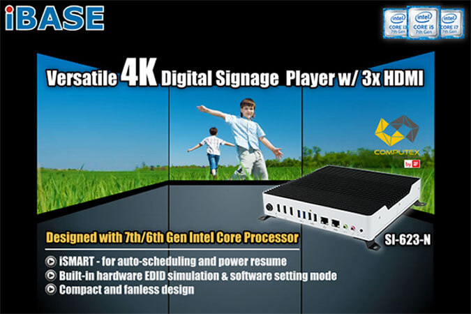 Eclipse Digital Media - Digital Signage Shop - iBase SI-623-N 3 x HDMI Outputs EDID