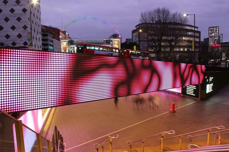 eclipse digital media - digital signage and av solutions - wembley park - quintain - bobby moore bridge - miramandtom crossover - dooh LED billboard
