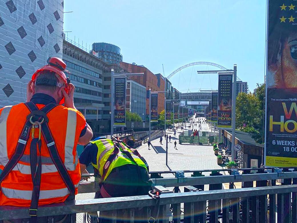 Eclipse Digital Media - Digital Signage and AV Solutions - Wembley Park - Bobby Moore Bridge LED - Install Arch