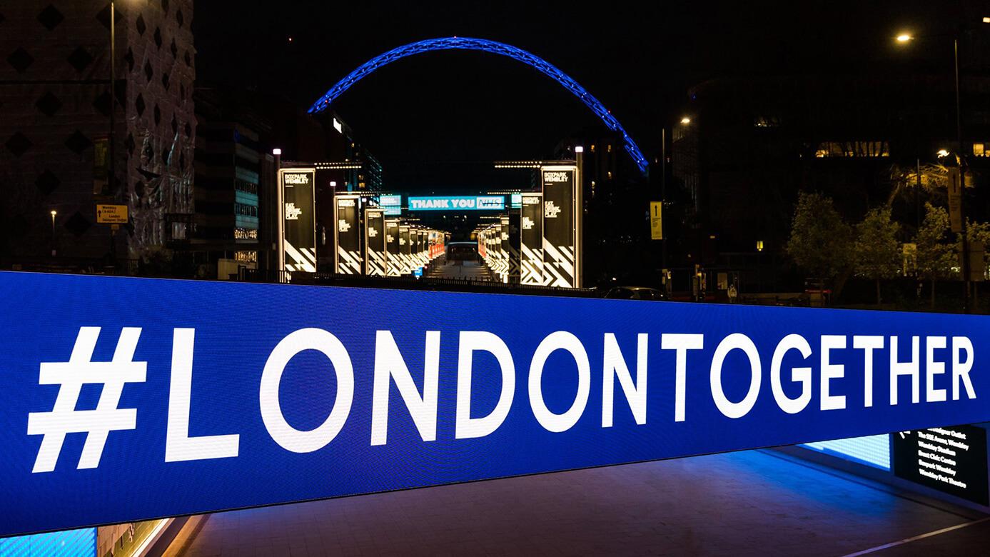 Eclipse Digital Media - Digital Signage and AV Solutions - Wembley Park - Bobby Moore Bridge LED - London Together #londontogether with Arch