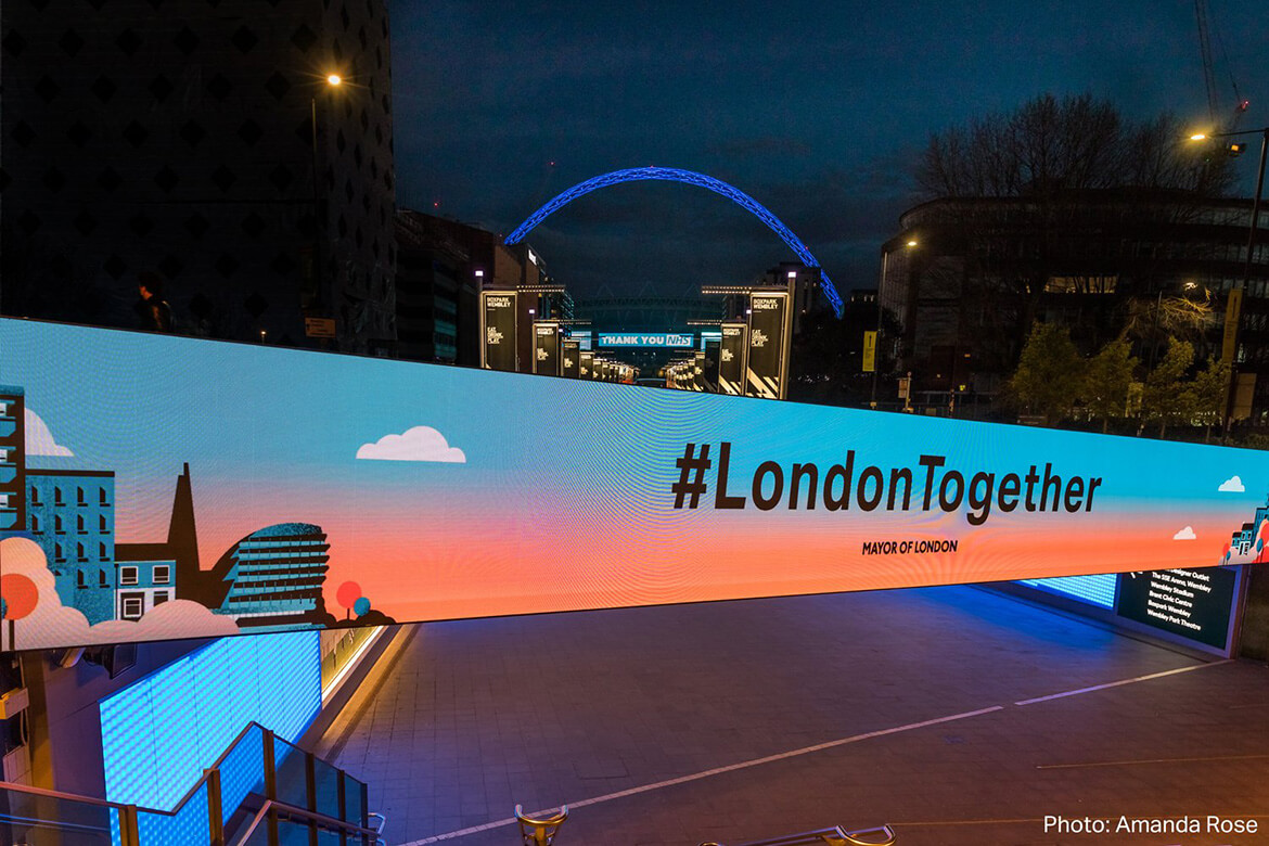 Eclipse Digital Media - Digital Signage and AV Solutions - Wembley Park - Bobby Moore Bridge LED - #londontogether with Arch