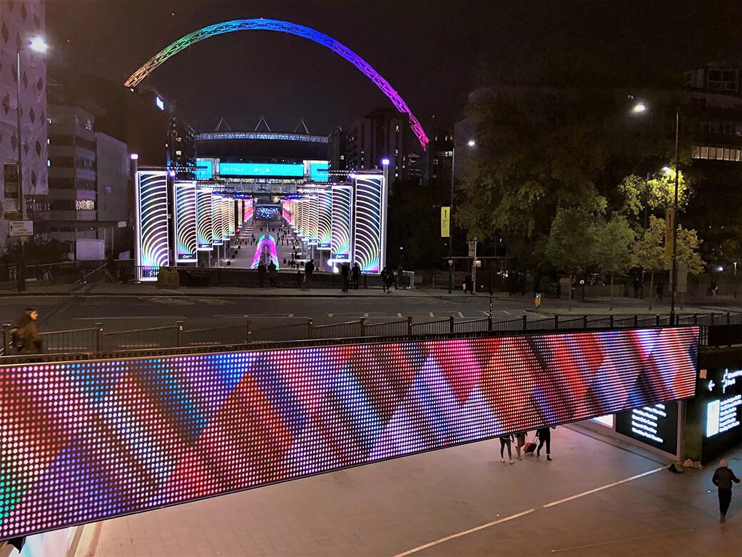 eclipse digital media - digital signage and av solutions - wembley park - quintain - bobby moore bridge - rainbow arch - dooh LED billboard