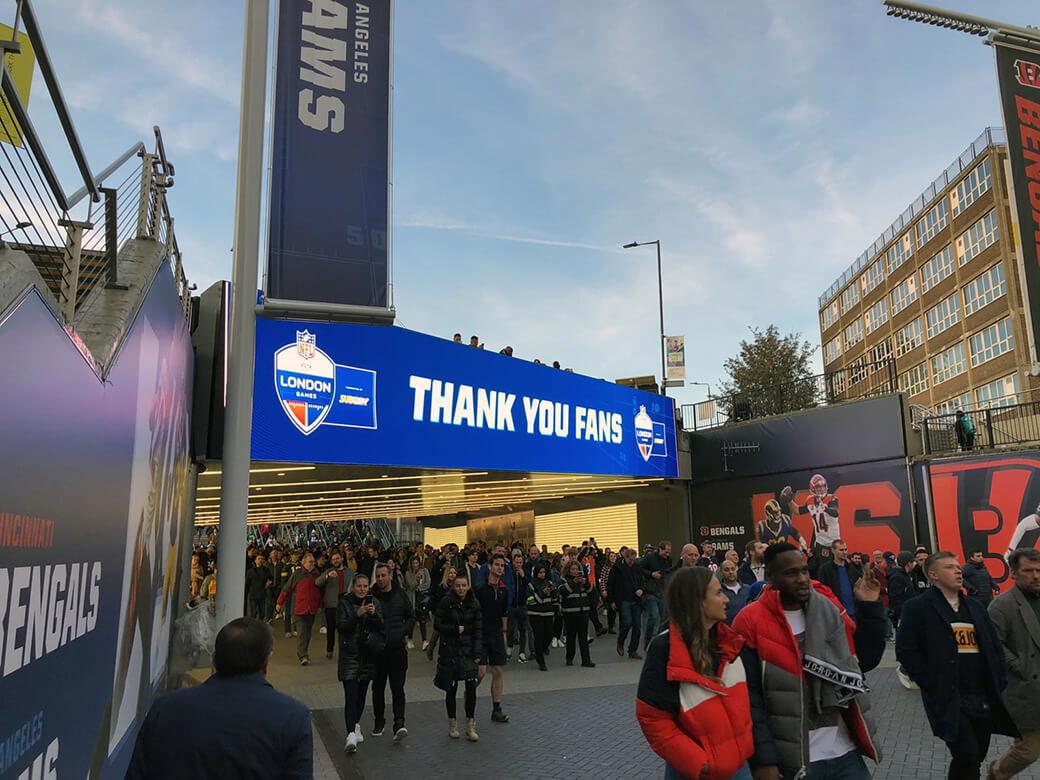 Eclipse Digital Media - Digital Signage and AV Solutions - Wembley Park - Bobby Moore Bridge LED - NFL Thank You Fans