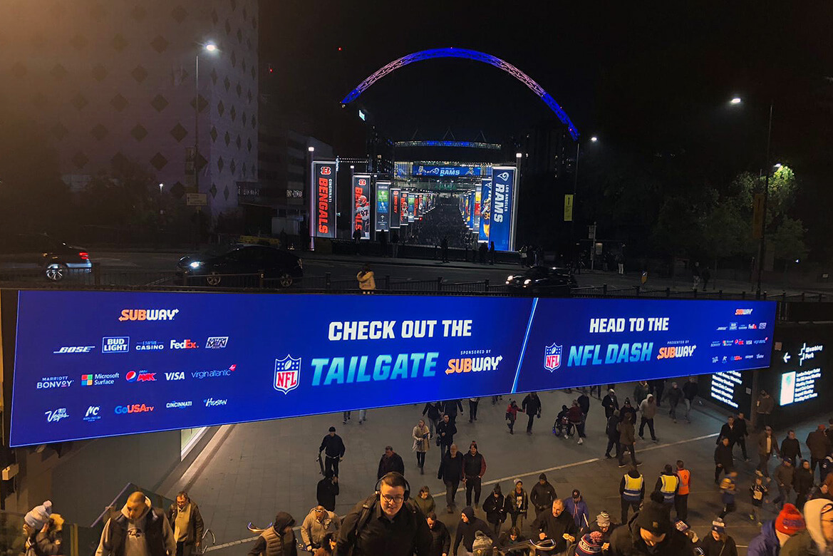Eclipse Digital Media - Digital Signage and AV Solutions - Wembley Park - Bobby Moore Bridge LED - NFL Arch