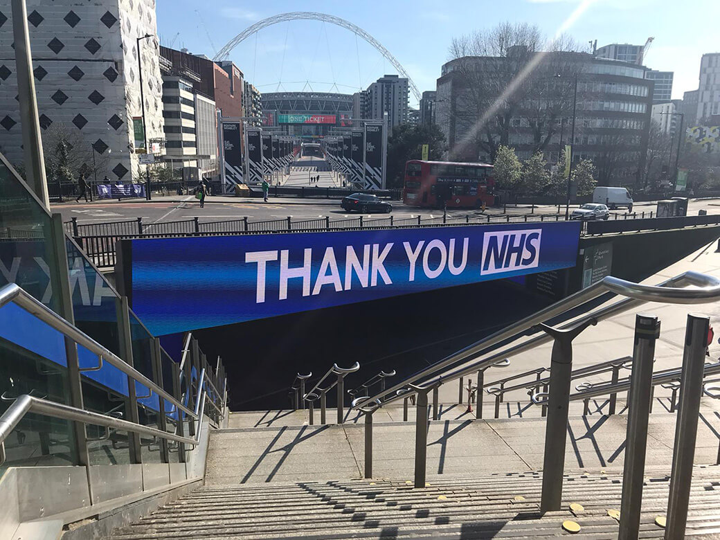 Eclipse Digital Media - Digital Signage and AV Solutions - Wembley Park - Bobby Moore Bridge LED - Thank You NHS with Arch