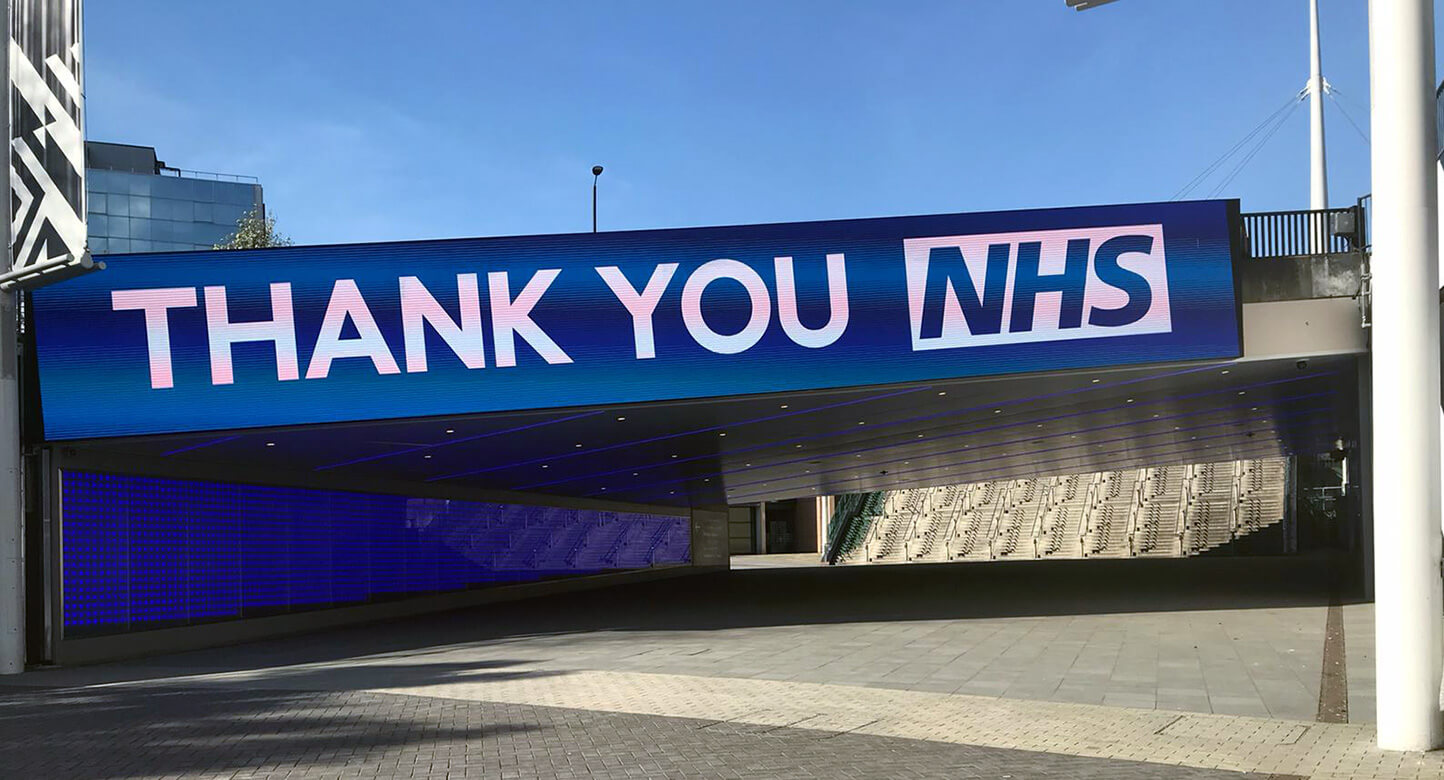 Eclipse Digital Media - Digital Signage and AV Solutions - Wembley Park - Bobby Moore Bridge LED - Thank You NHS