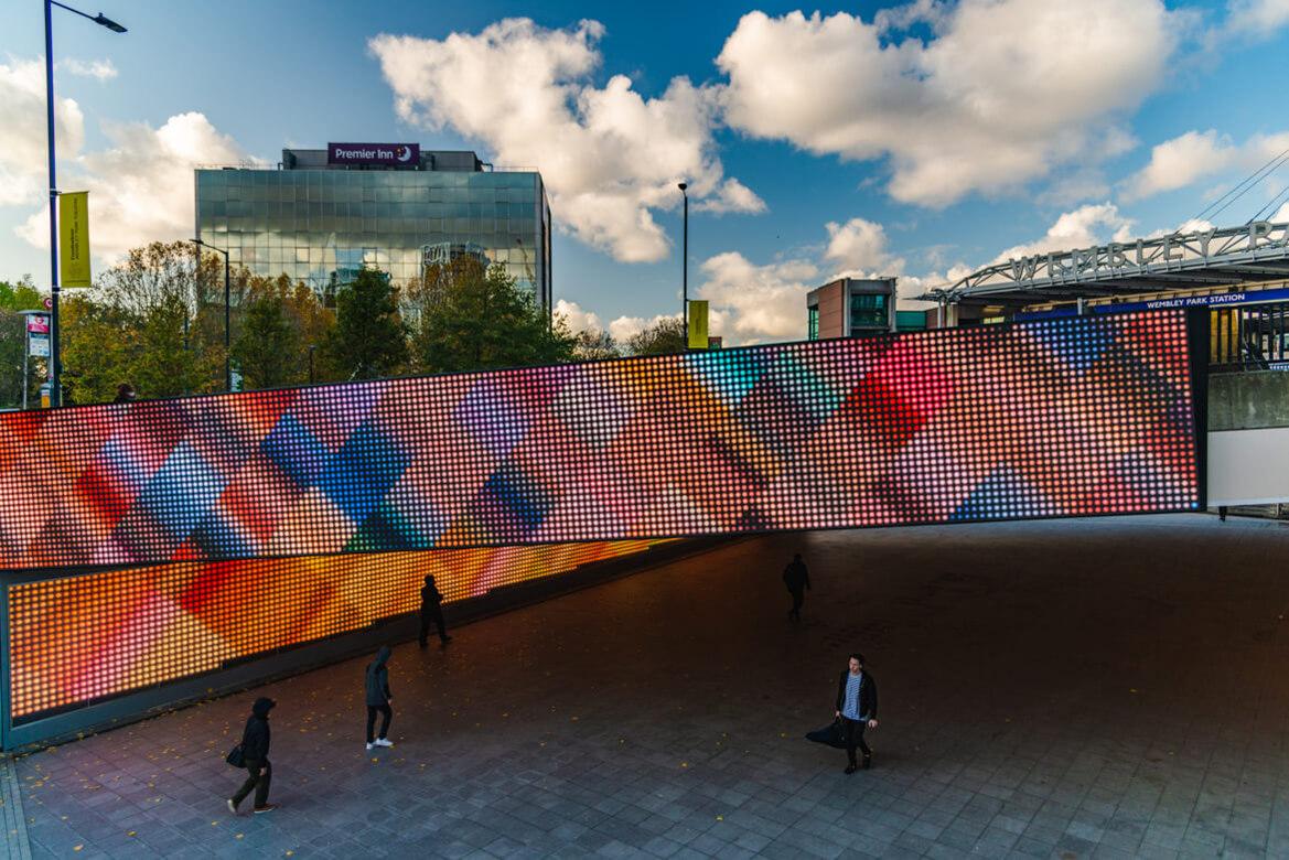 Eclipse Digital Media - Digital Signage and AV Solutions - Wembley Park - Bobby Moore Bridge LED - miriamandtom Artwork Crossover