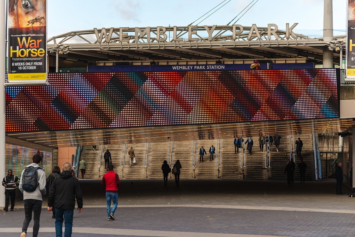Eclipse Digital Media - Digital Signage and AV Solutions - Wembley Park - Bobby Moore Bridge LED - Miriam and Tom Artwork Crossover