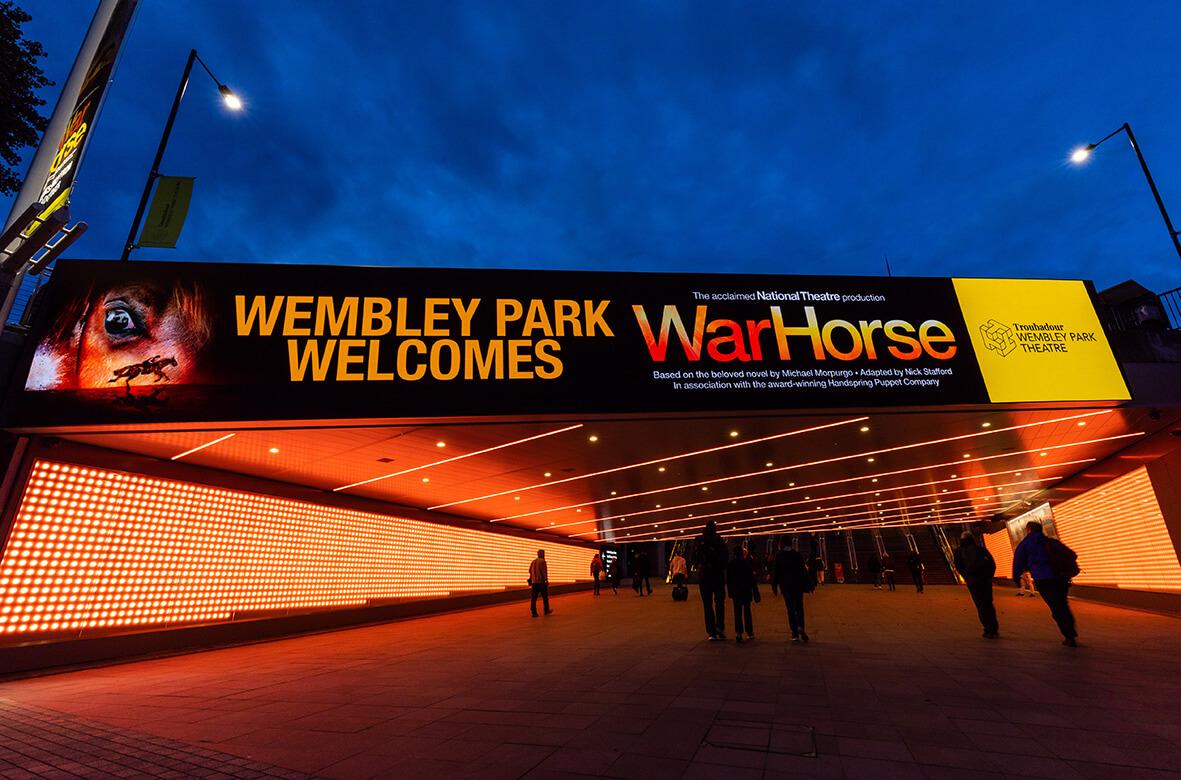 eclipse digital media - digital signage and av solutions - wembley park - quintain - bobby moore bridge - war horse - dooh LED billboard