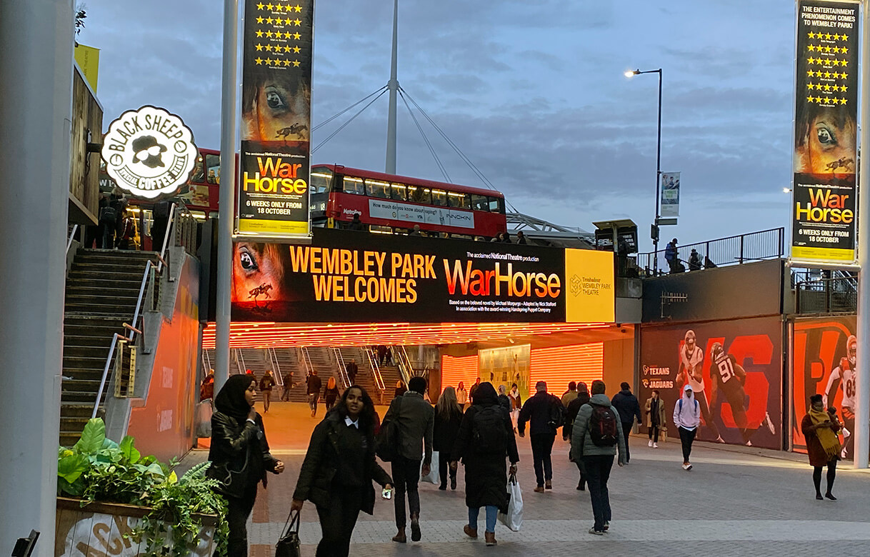 Eclipse Digital Media - Digital Signage and AV Solutions - Wembley Park - Bobby Moore Bridge LED - War Horse