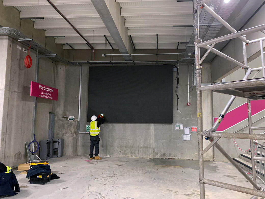 Eclipse Digital Media - Digital Signage and AV Solutions - Wembley Park - Pink Car Park Coach Park - Indoor Direct View LED installation