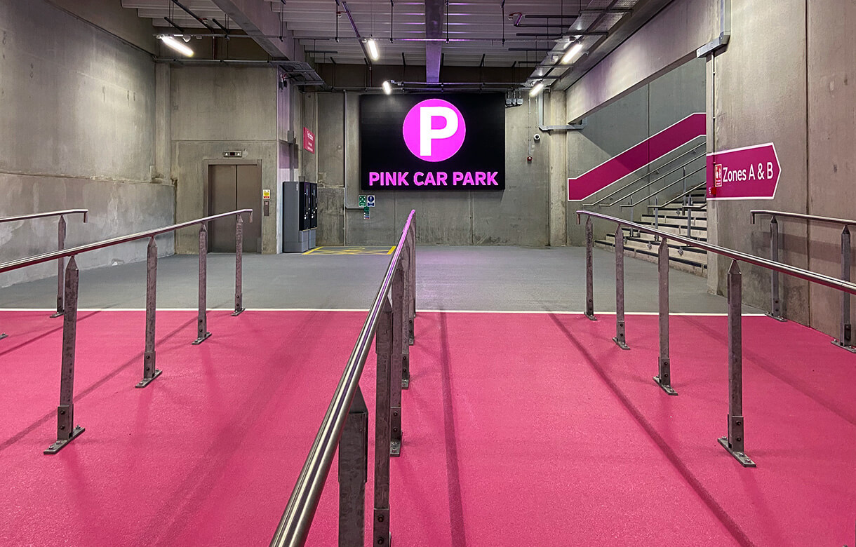 eclipse digital media - digital signage and av solutions - wembley park - quintain - pink coach and car park - indoor LED display