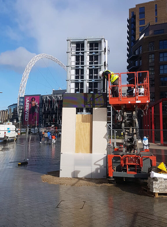 Eclipse Digital Media - Digital Signage and AV Solutions - Wembley Park - White Horse Square LED Totems - Installing Single Totem