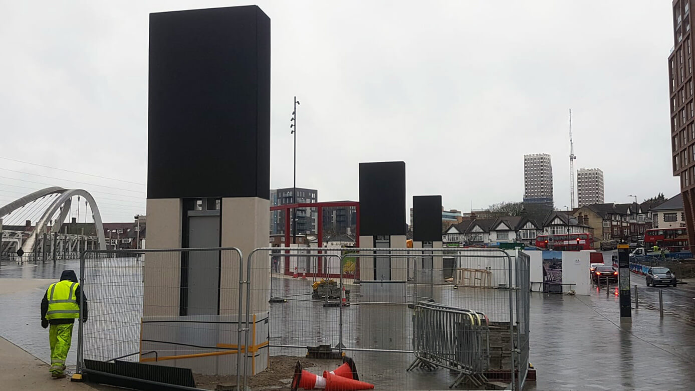 Eclipse Digital Media - Digital Signage and AV Solutions - Wembley Park - White Horse Square LED Totems - Installed