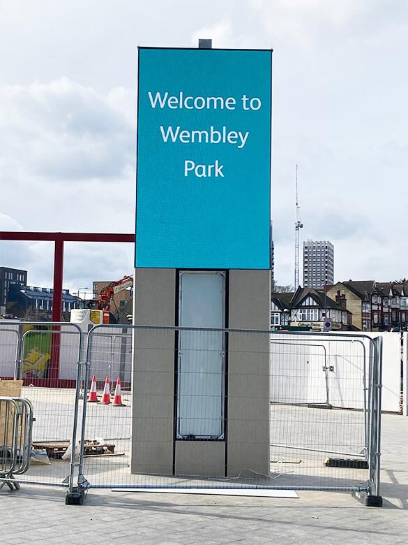 Eclipse Digital Media - Digital Signage and AV Solutions - Wembley Park - White Horse Square LED Totems - Installation Single