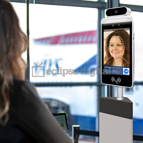 "Eclipse Digital Media - Digital Signage Shop - 8"" Facial recognition thermometer display application"