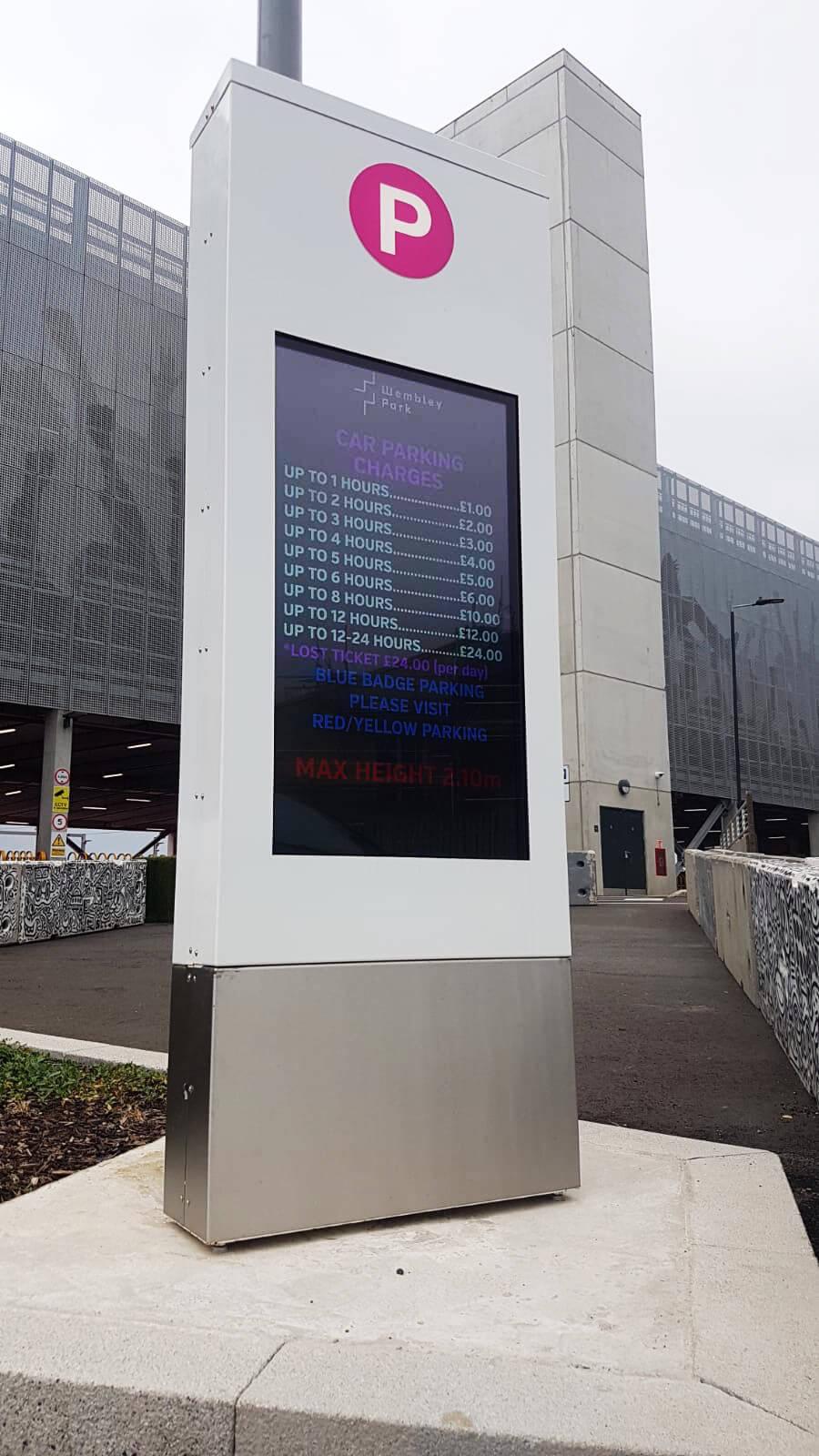 eclipse digital media - digital signage and av solutions - wembley park - quintain - pink coach and car park - custom entrance totem