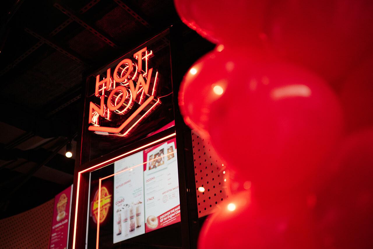 Eclipse Digital Media - Digital Signage, LED and AV Specialists - Krispy Kreme Westfield Stratford Hot Now