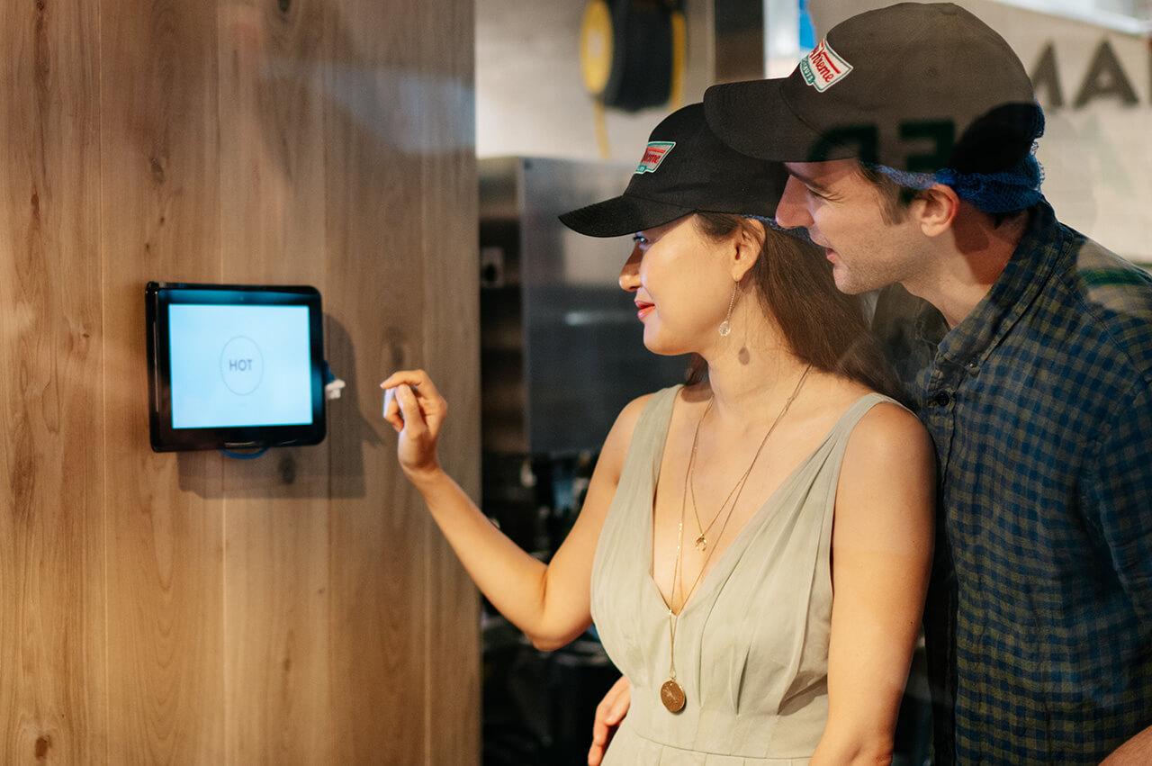 Eclipse Digital Media - Digital Signage, LED and AV Specialists - Krispy Kreme Westfield Stratford Hot Now Touch